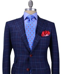 Andrea Campagna Blue Plaid with Red Windowpane Sportcoat