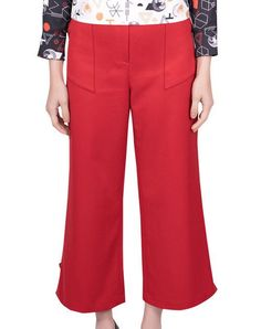 Women Trousers - Red $95.00  Trousers in red, ankle-length, high waist and pockets.