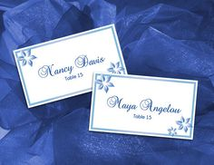 DIY Printable Wedding Place Name Card Microsoft Word Template - Royal Blue Simple Garden for Weddings and Events
