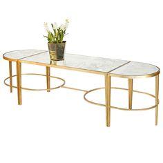 3-Piece Gold Leaf Sabre Leg Cocktail Table – Antique Mirror