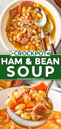 Crock Pot Soup, Crock Pot Slow Cooker, Crock Pot Cooking, Slow Cooker Recipes, Crockpot Recipes, Soup Recipes, Cooking Recipes, Crockpot Ham And Beans, Ham And Bean Soup