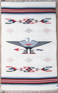 Chimayo Thunderbird blanket, 54x84 weaving done back in 1930's, weaver unknown