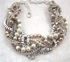 Chunky Pearl Rhinestone Necklace White Bridal Statement Champagne Pearls Wedding Jewelry Vintage Milk Glass Tom Binns Inspired