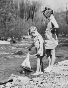 1936 TITLE: Children sailing boat. Vintage Black & White Photograph b4