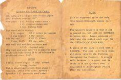 Printed recipe for Queen Elizabeth Cake