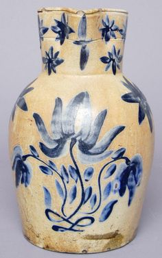 "Very rare stoneware pitcher, Philip Byers, Zigler Pottery, Timberville, VA, circa 1837, H 11 3/8"""