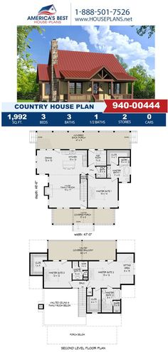 Featuring 1,992 sq. ft., this Country design gives 3 bedrooms, 3.5 bathrooms, a mud room, a sitting room and an open floor plan. Get more information about Plan 940-00444 on our website today!
