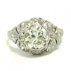 1920's Platinum  Diamond Ring, 1.50ct I-VS2 - This 1920's bombe engagement ring is crafted in platinum and features one 1.50 carat Old European cut diamond rated I color, VS2 clarity. -                                                                                           $13,850.00                                      - http://www.excaliburjewelry.com/shop/rings/1920-s-platinum-diamond-ring-1-50ct-i-vs2.html