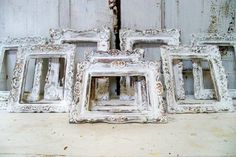 Shabby chic white frames grouping vintage by AnitaSperoDesign, $165.00