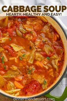 Cabbage Soup is the PERFECT savory vegetable soup made with cabbage tomato carrots celery and spices ready in under 45 minutes! The post Cabbage Soup is the PERFECT savory vegetable soup made with cabbage tomato car appeared first on Recipes. Cabbage Roll Soup, Cabbage Soup Recipes, Healthy Recipes, Healthy Soup Recipes, Cabbage Rolls, Cabbage Soup Diet, Simple Cabbage Soup, Crockpot Cabbage Soup, Stuffed Cabbage Soup
