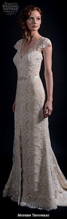 modern trousseau fall 2016 bridal gowns gorgeous v neckline sheath wedding dress nude off white color lace embroidery cap sleeves style alex #sheathweddingdress #weddingdresses