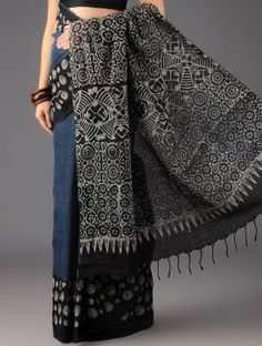Indigo-Black Uttarakhand Cotton Batik Printed Saree