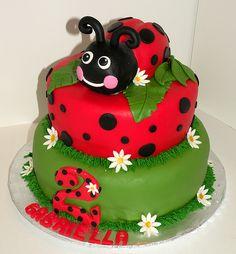 Elegant Birthday Cakes, 2 Birthday Cake, Birthday Ideas, Ladybug Cakes, Ladybug Party, Beautiful Cakes, Amazing Cakes, Ladybird Cake, Bolo Cake