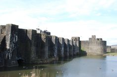 Caerphilly Castle medieval moat defenses