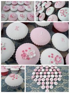 birthday cupcakes pink and white fondant Inspired by Michelle Cake Designs