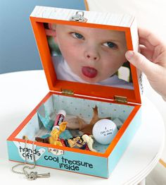 Homemade Treasure Box - Turn an ordinary box into a favorite place for Dad to store tiny treasures with this fun Father's Day project. Kids can paint a hinged wooden box with a latch any color they like; once they're done, secure a photo of them on the inside of the lid?every time Dad opens the box, he'll think of who he treasures the most.