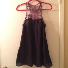 Free People Tank Two tone purple tank with lace and beading, like new. Button detail in back Free People Tops