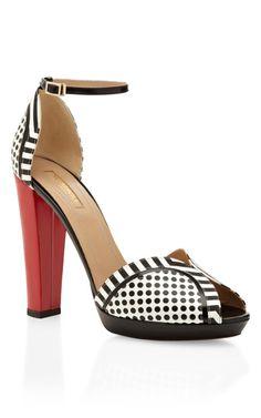 Shop Black, White And Red Cosmopolitan Sandal by Aquazzura Now Available on Moda Operandi