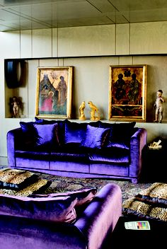The House of Roberto Cavalli Florence.. - Living Room // wow purple couches