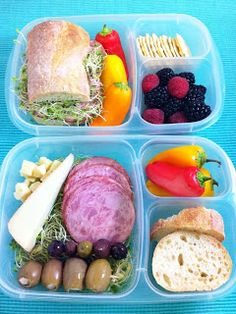 Two different lunches made from the same ingredients.| packed in @EasyLunchboxes