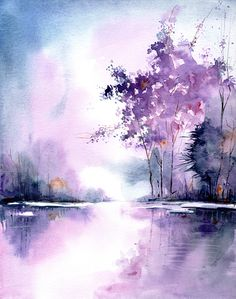 purple lake - landscape art print from original watercolor painting, purple . - purple lake – landscape art print from original watercolor painting, purple landscape, wall art, - Landscape Prints, Landscape Art, Landscape Photography, House Landscape, Landscape Fabric, Landscape Photos, Landscape Borders, Landscape Architecture, Watercolor Landscape Paintings