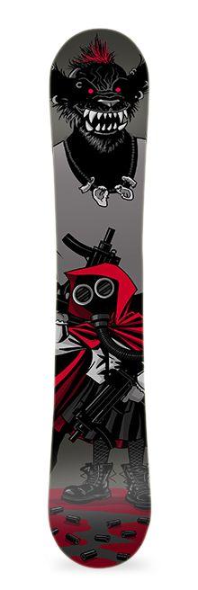 Caperucita Nuclear. Diseño de vinilo adhesivo para snowboard. #greenmonkeybanana