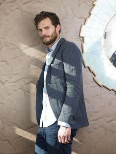 Photoshoot by Tony Buckingham. Denim Button Up, Button Up Shirts, Jaime Dornan, The Way He Looks, Glamour Uk, Fifty Shades Of Grey, Dakota Johnson, Men Sweater, Photoshoot