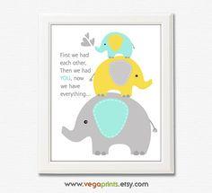 Aqua grey and yellow nursery art print  8x10 by VegaPrints on Etsy, $13.50