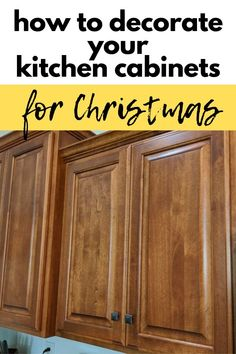 Get into the Holiday spirit with this easy and quick way to decorate your kitchen cabinets for Christmas with this rustic farmhouse idea. Make your kitchen cozy for the Holidays with this beautiful Christmas mini wreath idea on a budget