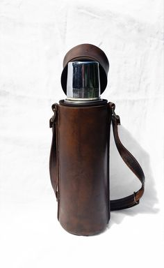 Vintage Traveling Thermos with Leather Carrying by zincfineart, $89.00