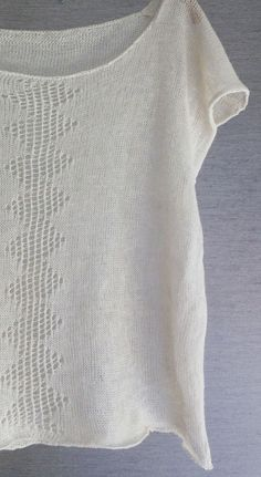 Beautiful fine knit top. I believe this is actually machine-knit. Blog is in Swedish and there is no pattern, but I pinned for inspiration. Lovely balance of lace and plain knit.