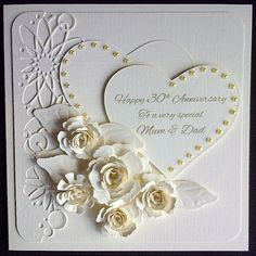 Order Code 081406 Beautiful 30th Anniversary Card Ivory Linen Cardstock Decorated With Two Hearts