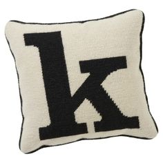 Give your space a personalized spin with a plush pillow showcasing your initial. This pillow is crafted of a wool and cotton blend using traditional needlepoint construction and features one of the alphabet's 26 letters in graphic black and … Black And White Cushions, Pb Teen, Needlepoint Pillows, Sketch Painting, Punch Needle, Needlework, Initials, Alphabet, Handarbeit