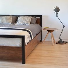 Walnut captains bed by tealandgold on Etsy