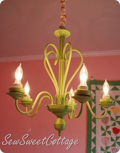 Spray paint old chandeliers for a new updated look!