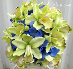 Wedding bouquets green orchids royal blue by BrideinBloomWeddings, $100.00
