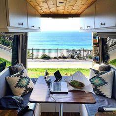 Offices don't get prettier than this? Who else uses their Sprinter Van as a mobile work station? Tag your van #sprintercampervans Photo: @sprint2explore Regram via @sprintercampervans