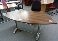 Walnut MFC Curved Desk with Pedestal £65 + VAT http://www.usedofficefurniturelancashire.co.uk/products/detail.cfm?id=234