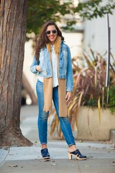 How To Pull Off Fall Layering Like A Total Pro #refinery29  http://www.refinery29.com/fall-street-style-san-francisco#slide17  Chloe Roth in an American Apparel shirt, Madewell jeans, Maguba clogs, Banana Republic scarf, and Zara jacket.