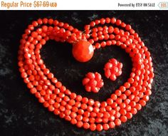Cyber Monday Sale Vintage Red 5 Strand Beaded Necklace Signed Collectible Retro Rockabilly Glam Jewelry by MartiniMermaid on Etsy https://www.etsy.com/listing/222566256/cyber-monday-sale-vintage-red-5-strand