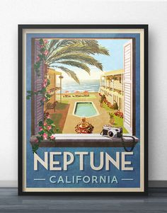 Neptune California Travel Poster - Inspired by Veronica Mars by WindowShopGal on Etsy https://www.etsy.com/listing/470343221/neptune-california-travel-poster