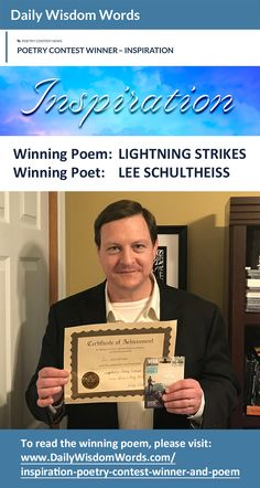 A poem from my book won the INSPIRATION poetry contest sponsored by Daily Wisdom Words.