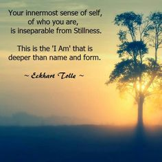 Your innermost sense of self, of who you are, is inseparable from Stillness ~ This is the 'I AM' that is deeper than the name and form ⊰❁⊱ Eckhart Tolle