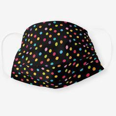 Whimsical Crayon Polka Dots Black Pattern Adult Cloth Face Mask Bright Purple, Pink And Green, Blue Orange, Photography North Carolina, Distance Gifts, Black Pattern, Clothing Patterns, Snug Fit, Whimsical