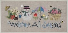 Welcome All Seasons  A Framed Cross Stitch Piece  by GThreads
