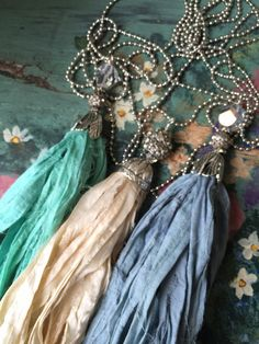 BoHo glam shabby chic sari silk tassel necklace simple versatile everyday ball chain necklace by MarleeLovesRoxy