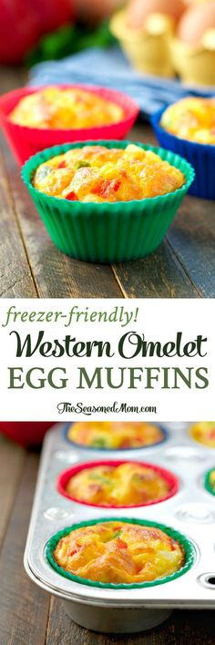 Just 10 minutes of prep for an easy and healthy make-ahead breakfast: Freezer-Friendly Western Omelet Egg Muffins! @HappyEggCoUSA #ad