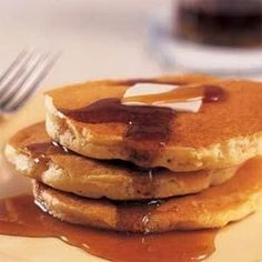 IHOP Pancakes    Nonstick Spray  1 1/4 cups all-purpose flour  1 egg  1 1/4 cups buttermilk  1/4 cup granulated sugar  1 heaping teaspoon baking powder  1 teaspoon baking soda  1/4 cup cooking oil  pinch of salt    http://www.buzzfeed.com/keenan/42-home-recipes-of-famous-foods#