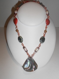 "Laura's European Jewellery  23""  Abalon Shell, Fresh Water Pearls, Coral and Jasper set in Copper   $175.00"
