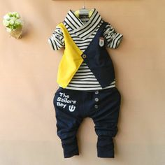 Now it is a cute tackle the sailor look Baby Girl Frocks, Frocks For Girls, Little Girl Dresses, Dress Suits For Men, Kids Suits, Toddler Fashion, Kids Fashion, Boys Wedding Suits, Cute Baby Boy Outfits